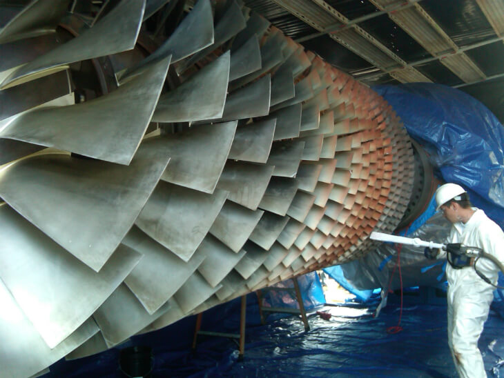 Очистка турбин криобластингом